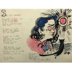 ALDEMIR MARTINS - Poema - desenho a nanquim aquarelado - 47 x 62 cm - a.c.i.d. 1949