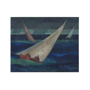 JOÃO QUAGLIA - O barquinho, óleo sobre tela, 44 x 37,assinado no canto inferior direito. *A obra apresenta manchas na tela, necessitando de limpeza.