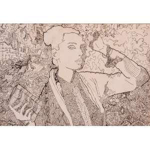 JARBAS JUAREZ - Figura feminina, nanquim, medindo 35 x 50 cm