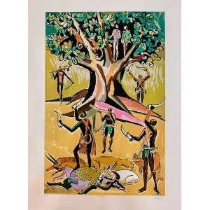 HECTOR CARYBÉ - Oxossi, serigrafia PI, 60 x 40, assinado no canto inferior direito. A obra apresenta cachet do Instituto Carybe, BA.