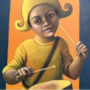 DIEGO MENDONÇA - Menino de circo com tarol, acrílica sobre tela, 40 x 40, assinado no canto inferior esquerdo, 2020
