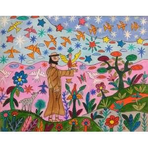 ANTÔNIO EUSTÁQUIO - São Francisco e pássaros, óleo sobre tela, 40 x 50, assinado no canto inferior esquerdo.