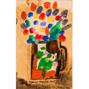 ALDEMIR MARTINS - Flores, guache, 33 x 52, assinado e datado na parte inferior, 2001.