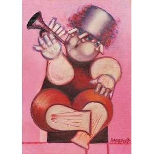 """ALEXANDRE RAPOPORT - """"O Trompetista"""", óleo sobre tela, 45 x 34, assinado no canto inferior direito."""