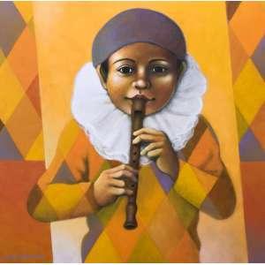 DIEGO MENDONÇA - Flautista, acrílica sobre tela, 60 x 60, assinado no canto inferior esquerdo, 2020