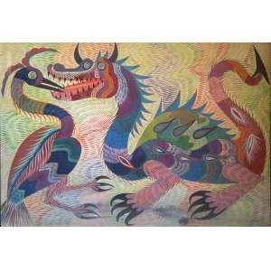 CHICO DA SILVA - Pássaro e dragão, óleo sobre tela, 70 x 49, assinado e datado na parte inferior, 1970.