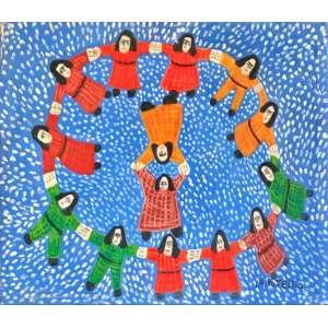 """ANTÔNIO POTEIRO - """"Ciranda"""", óleo sobre tela, 60 x 70 assinado no canto inferior direito, 1999."""