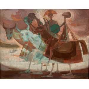 """ENRICO BIANCO - """"Bumba meu boi"""", acrílica sobre eucatex, 54 x 70, assinado no canto inferior direito. A obra consta no livro do artista à Pág. 205."""
