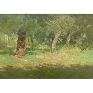 """ANTÔNIO PARREIRAS - """"Trecho de mata"""", óleo sobre tela, 32 x 45, assinado no canto inferior direito, déc. 20."""