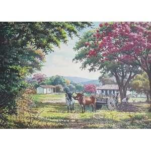 WILSON VICENTE - Paisagem com carro de boi, óleo sobre tela, 50 x 70, assinado no canto inferior direito, 1990