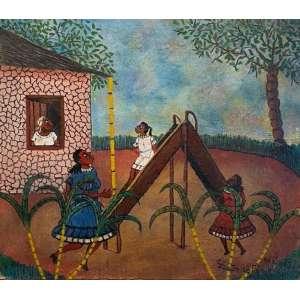 HEITOR DOS PRAZERES - Brincando de escorregar, óleo sobre eucatex, 40 x 34, assinado no canto inferior direito. A obra apresenta certificado de autenticidade emitido pelo filho do artista.