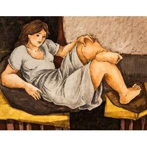 LÚCIA MARQUES - Descanso I – óleo sobre madeira, medindo 50 x 60 cm, assinado na parte inferior direito.