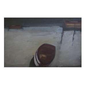 CARLOS SCLIAR - Barcos, vinil encerado e colado sobre tela, 55 x 36, assinado na parte inferior.