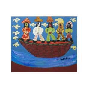 """ANTÔNIO POTEIRO - """"Cinco raças"""", óleo sobre tela, 71 x 91, assinado na parte inferior esquerda."""