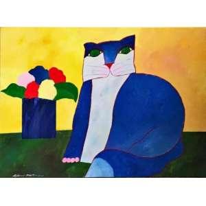 """ALDEMIR MARTINS - """"Gato com vaso de flores"""", acrílica sobre tela, 60 x 80, assinado no canto inferior esquerdo. A obra possui Certificado de autenticidade emitido pelo Instituto do artista."""