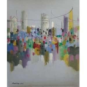 CHANINA - Cidades invisíveis, óleo sobre tela,45 x 55, assinado no canto inferior esquerdo, 1971.