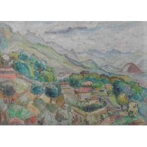 ANITA MALFATTI - Paisagem, óleo sobre tela, 32 x 45, assinado no canto inferior direito.