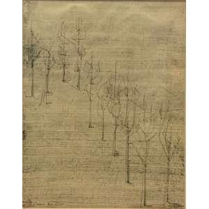 """MARIA VIEIRA DA SILVA - """"Paisagem"""", nanquim sobre papel, 25 x 20, assinado no canto inferior esquerdo. A obra participou do leilão da bolsa de arte em 2010 e foi reproduzida no catálogo do leilão."""