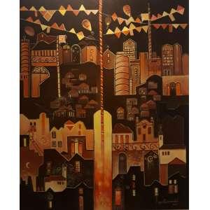 """YARA TUPYNAMBÁ - """"A fogueira de São João"""", acrílica sobre tela, 120 x 100, assinada no canto inferior direito."""