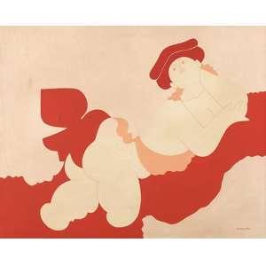 """MILTON DACOSTA - """"Vênus e pássaros"""", óleo sobre tela, 40 x 50, assinado no canto inferior e verso, 1971."""