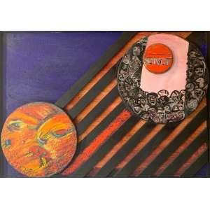"""RUBENS GERCHMAN - """"Cículos da matéria memory"""", óleo sobre tela, 50 x 70, assinado no canto inferior esquerdo e verso."""