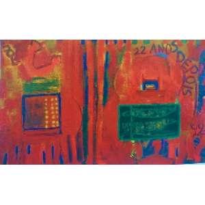 """SIRON FRANCO - """"Na era das máquinas"""", óleo sobre tela, 72 x 115, assinado e datado no verso, e 1970."""