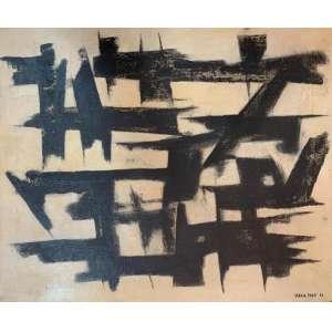 MARIA POLO - Composição em preto e branco, óleo sobre tela, 46 x 38, assinado no canto inferior direito.