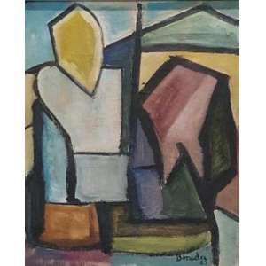 ALDO BONADEI - Sem título, óleo sobre tela, 54x45, assinado canto inferior direito, 1963.