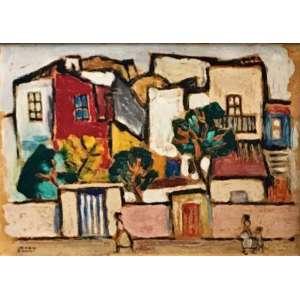 """MÁRIO ZANNI - """"Casas e figuras na avenida 09 de julho"""", óleo sobre tela, assinado no canto inferior direito. A obra apresenta cachet do Museu de Arte Contemporânea da Universidade de São Paulo –SP"""