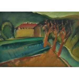 """CARLOS BRACHER - """"Casas e árvores"""" óleo sobre tela, 73 x 54, assinado no canto inferior direito, 28.6.79."""
