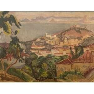 TADASHI KAMINAGAI - Sem título, óleo sobre tela, 50 x 64, assinado e datado no verso, 1945.