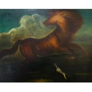 """ORLANDO TERUZ - """"Cavalos"""", óleo sobre tela, 80 x 100, Assinado no canto inferior direito. A obra apresenta certificado de autenticidade emitido pela família do artista."""