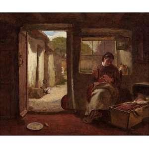 """MODESTO BROCOS - """"Interior de casa"""", óleo sobre tela, 25 x 30, assinado no canto inferior direito, 1895."""