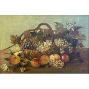 """ESTEVÃO SILVA - """"Natureza Morta"""", óleo sobre tela, 52 x 75, assinado no canto superior direito."""
