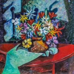 """JARBAS JUAREZ - """"As flores não falam, encantam"""", acrílica sobre tela, medindo 60 x 60 cm, assinado no canto inferior direito e verso."""