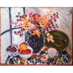 """SOU KIT GOM - """"Composição com flores"""",acrílica sobre tela, 90 x 110, assinado no canto inferior direito, 2012."""