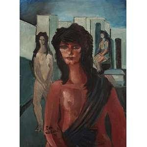 """EMILIANO DI CAVALCANTI - Figuras femininas, óleo sobre tela, 53 x 84, assinado no canto inferior esquerdo, 1972. A obra consta no catálogo de exposição """"Das Galerias"""", RJ."""