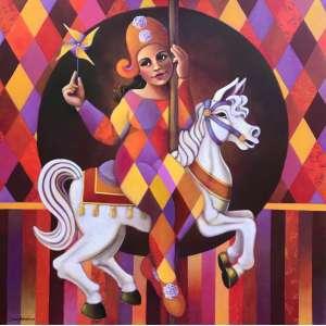 DIEGO MENDONÇA - Carrossel, acrílica sobre tela, 100 x 100, assinado no canto inferior esquerdo.