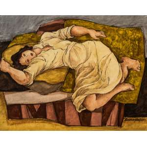LÚCIA MARQUES - Descanso II – óleo sobre madeira, medindo 50 x 60 cm, assinado no canto inferior direito.
