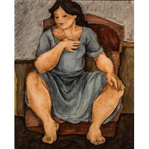 LÚCIA MARQUES - Descanso III – óleo sobre madeira, medindo 50 x 60 cm, assinado no canto inferior.