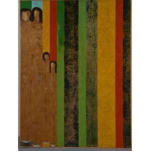 """LUIZ COSTA - """"Indígenas"""" óleo sobre tela, 200 x 150, assinado e datado no verso, 1986."""