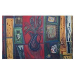 CHICO FERREIRA - Díptico, óleo sobre tela, 91 x 72 cada quadro.