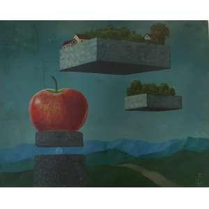 WALTER LEVY - Composição surreal, óleo sobre tela, 50 x 40, assinado e datado no canto inferior direito,1991. *A obra apresenta pequenas manchas na tela, necessitando de limpeza.