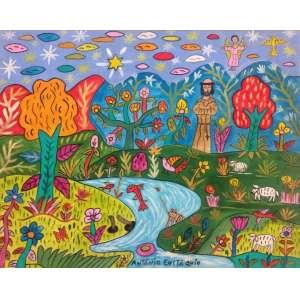 ANTÔNIO EUSTÁQUIO - São Francisco e peixes, óleo sobre tela, 40 x 50, assinado no canto inferior esquerdo.