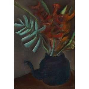 """CARLOS BRACHER - """"Chaleira com flores"""", óleo sobre tela, 46 x 36, assinado no canto inferior, 1973."""