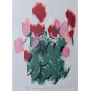 CARLOS SCLIAR - Rosas rosas e vermelhas, serigrafia 54/100, 52 X 38, assinado na parte inferior, 1987.