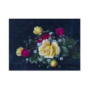 S. TAKAKI - Rosas, óleo sobre tela, 23 x 18, assinado no canto inferior direito.