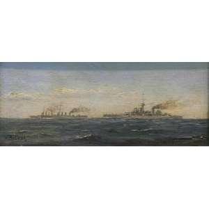 """CARLOS BALLIESTER - """"Encoraçados"""", óleo sobre tela colado em cartão, 15 x 33, assinado no canto inferior esquerdo."""