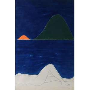 DÉCIO VIEIRA - Lápis e guache sobre papel, 75 x 49. A obra apresenta Certificado de autenticidade de Dulce Maria Azevedo Holzmeister.