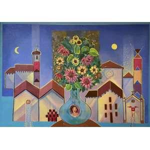 YARA TUPYNAMBÁ - Vaso de flor e casario, acrílica sobre tela, 50 x 70, assinado na parte inferior central, datado 2001